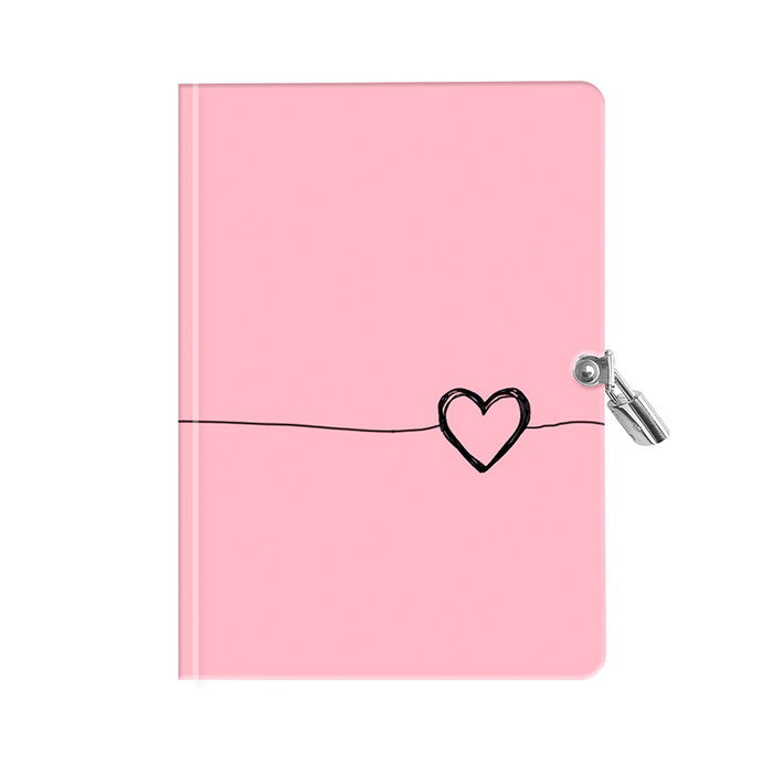 Diario con candado corazon rosa