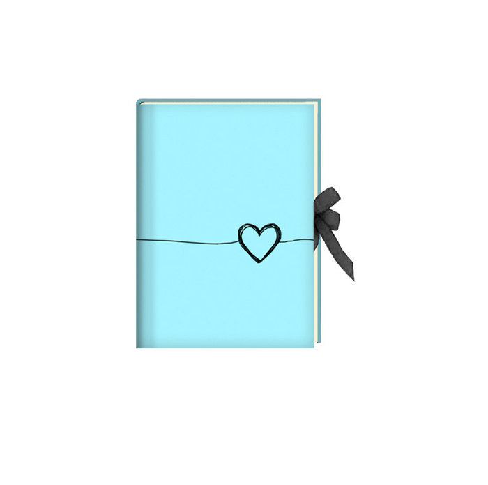 Diario cierre cinta 17 x 24 cm heart turquesa