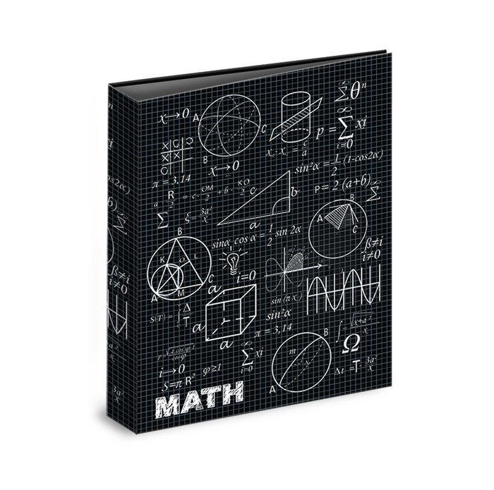 Carpeta carton folio 4 anillas maths negro
