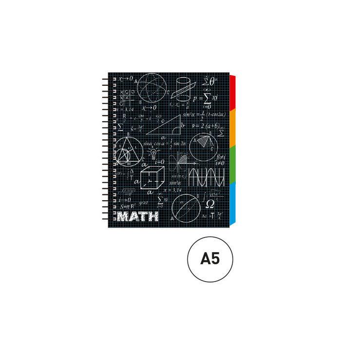 Cuaderno espiral a5 c/separadores maths negro