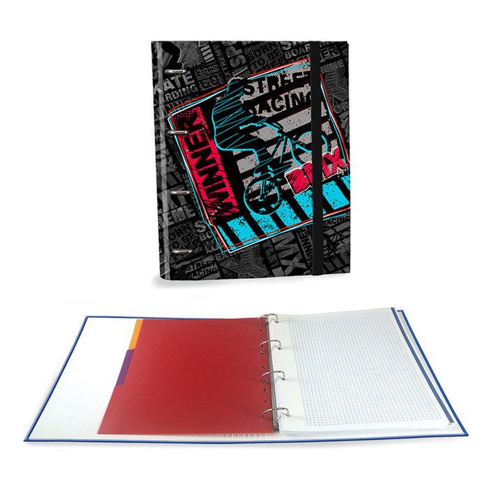 Carpeta carton a4 4 anillas c/recambio sports negro