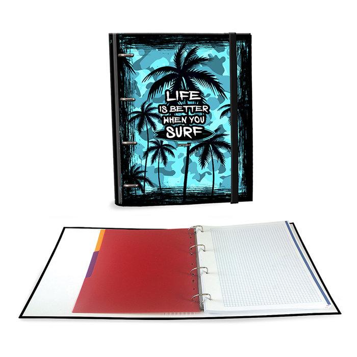 Carpeta carton a4 4 anillas c/recambio palm surf camuflaje
