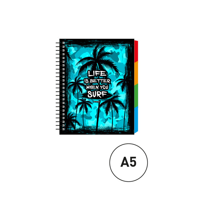 Cuaderno espiral a5 c/separadores palm sufr camuflaje