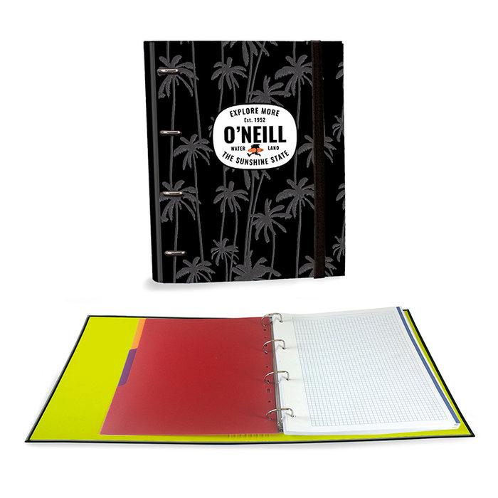 Carpeta carton a4 4 anillas c/recambio oneill negro palmeras