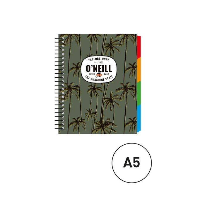 Cuaderno espiral a5 c/separadores oneill verde palmeras