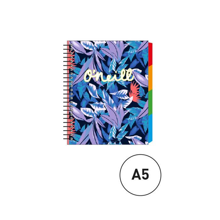 Cuaderno espiral a5 c/separadores oneill azul