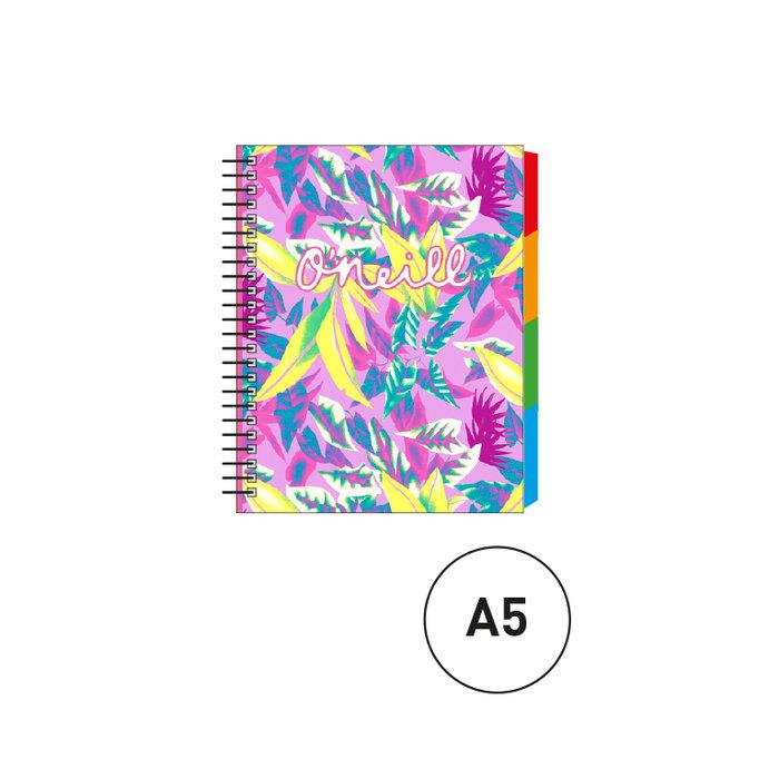 Cuaderno espiral a5 c/separadores oneill fucsia