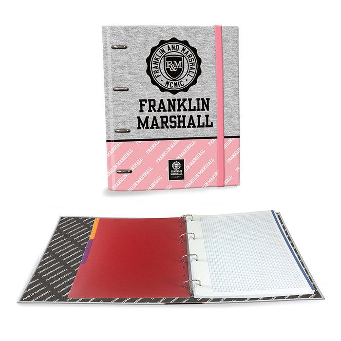 Carpeta carton a4 4 anillas c/recambio marshall gris rosa