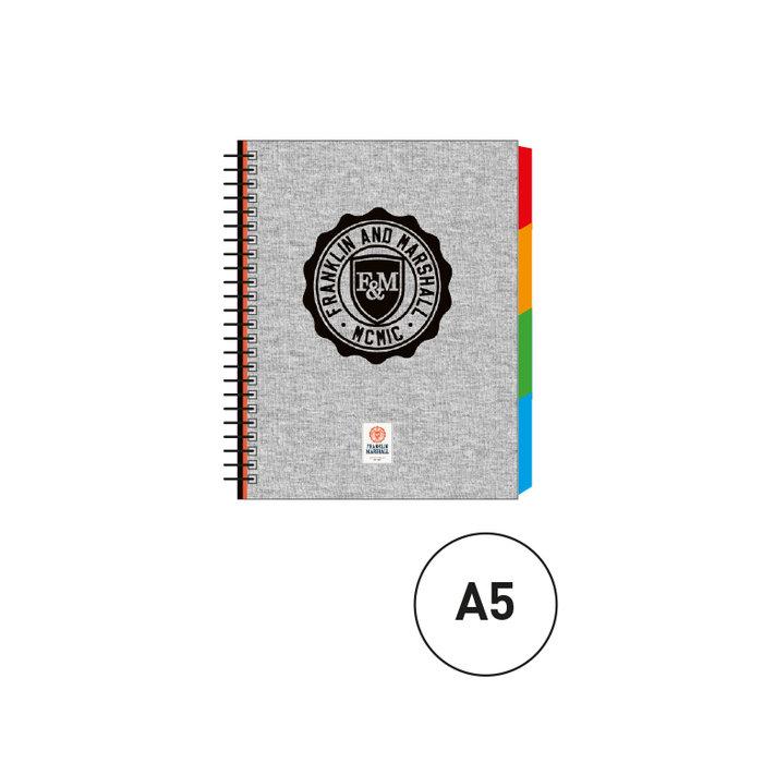 Cuaderno espiral a5 c/separadores marshall gris