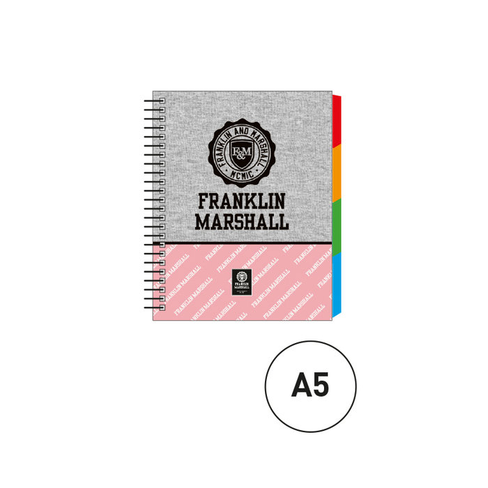 Cuaderno espiral a5 c/separadores marshall gris rosa