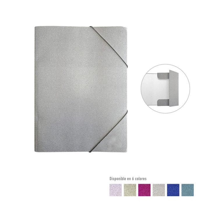 Carpeta solapas troquelada glitter plata