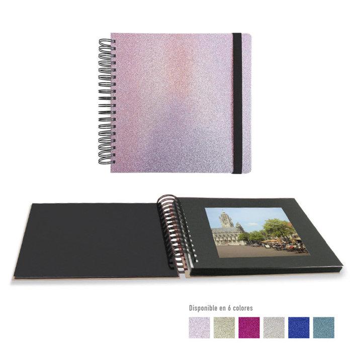 Album fotos espiral 25 x 25 cm glitter azul oscuro