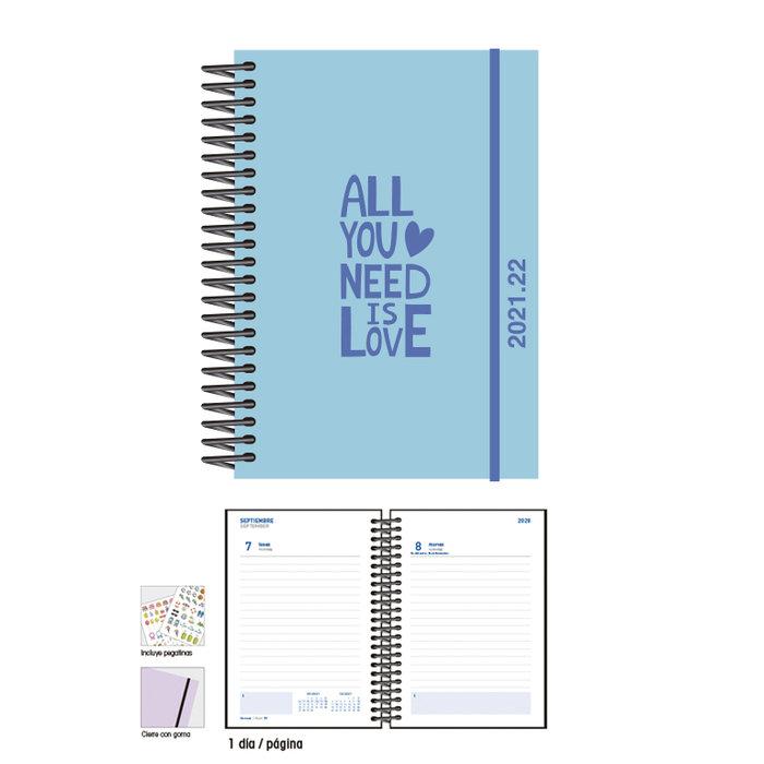 Agenda escolar 12 x 17  d/p  love blue