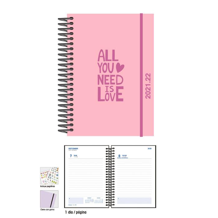 Agenda escolar 12 x 17  d/p  love pink