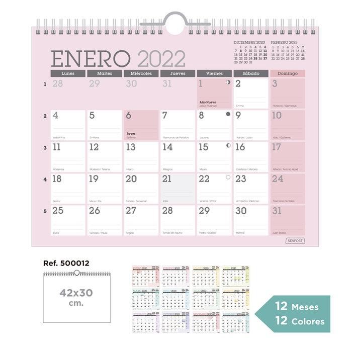 Calendario pared classic 1 color para cada mes 42 x 30 cm.