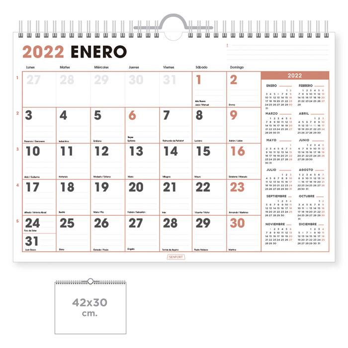 Calendario pared office  con espacio para escribir 42x30cm