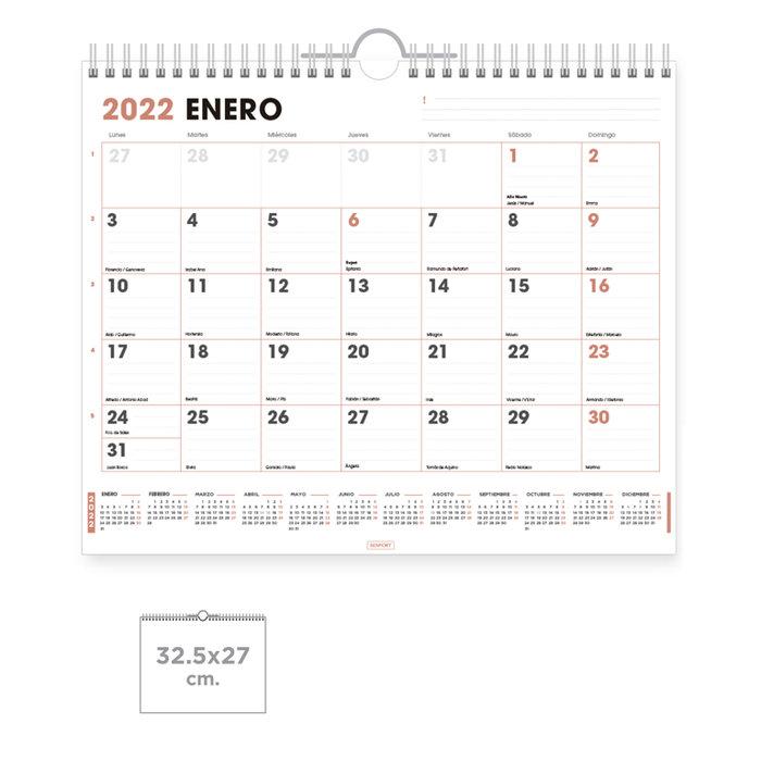 Calendario pared office  con espacio para escribir 32,5x27cm