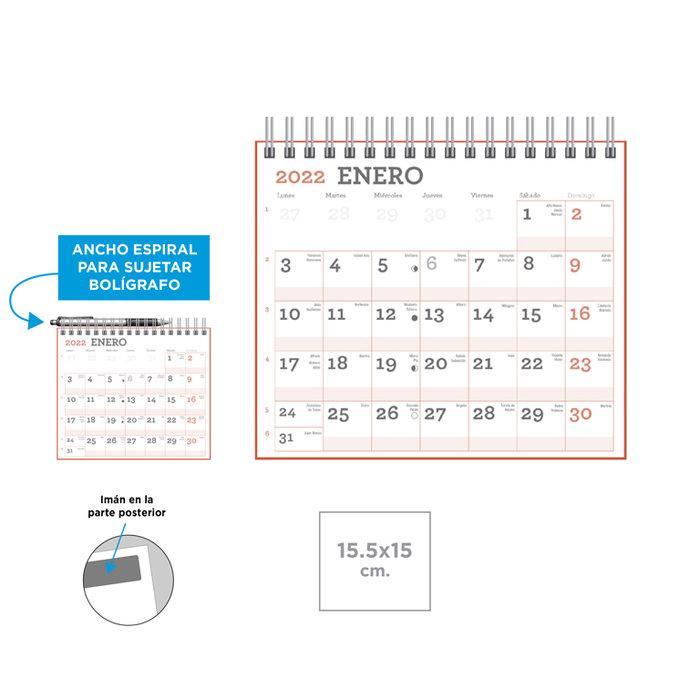 Calendario magnetico espiral ancha para boligrafo 15,5x15,5