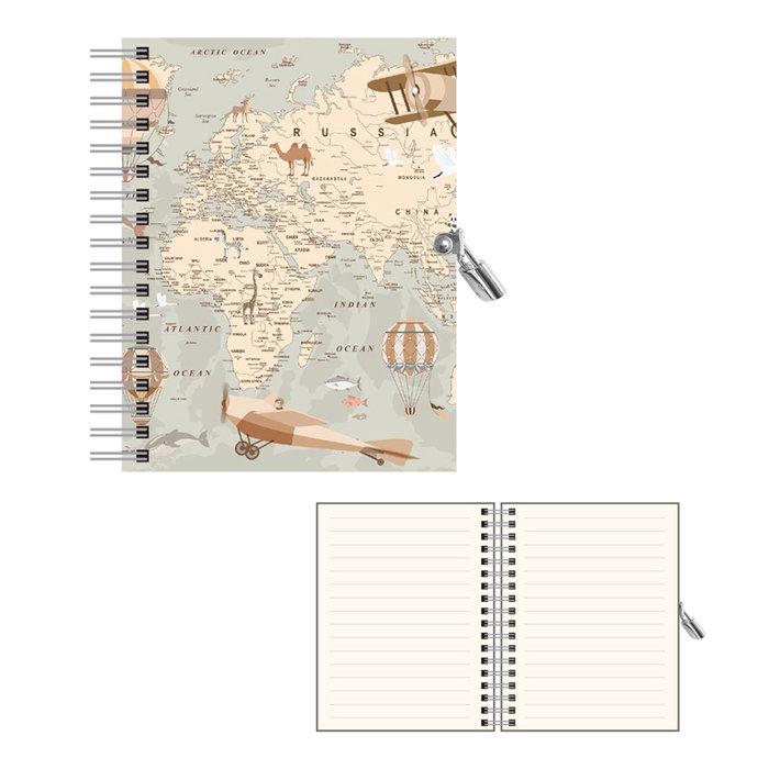 Diario de anillas con candado mapa retro