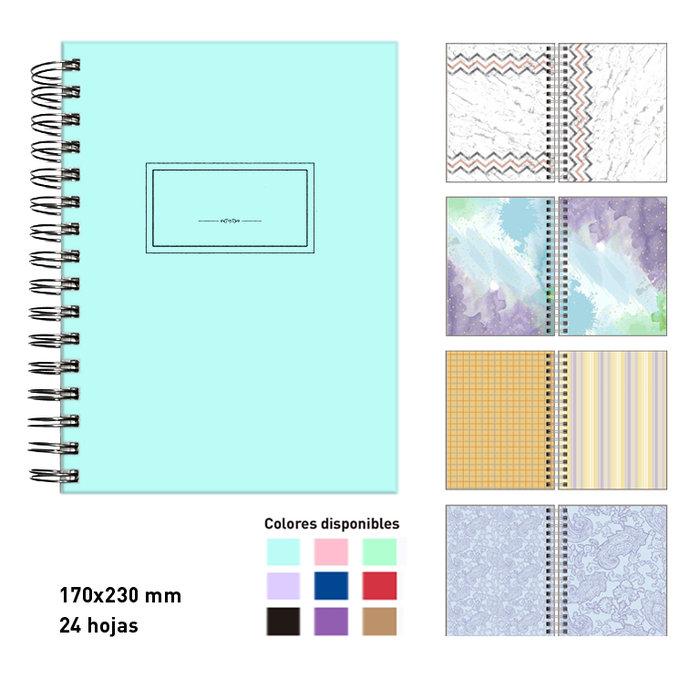Album scrapbook espiral  a5  azul pastel 24 hojas cartulinas