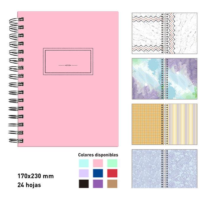 Album scrapbook espiral  a5  rosa pastel 24 hojas cartulinas