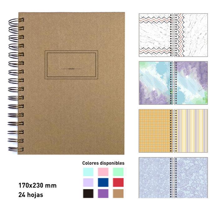Album scrapbook espiral  a5  kraft 24 hojas cartulina
