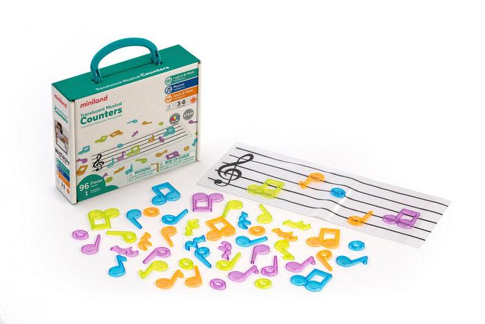 Juego musical notas traslucidas