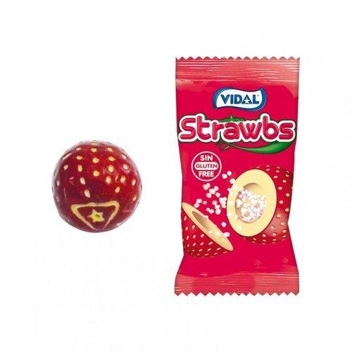 Golosina strawbs chicles fresa con relleno acido 200 ud