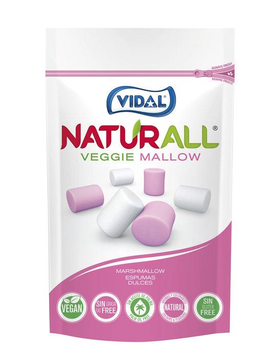 Golosina marshmallow vegano. caja 10 bolsas 90gr