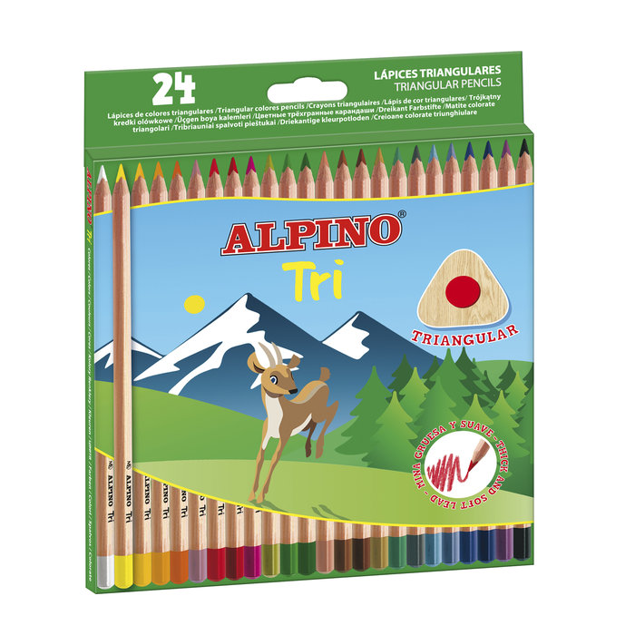 Lapiz alpino triangular 24 colores surtidos