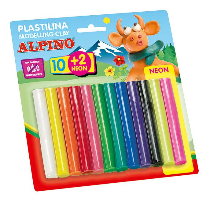 Plastilina alpino 17 gr neon blister 10 + 2 rollitos