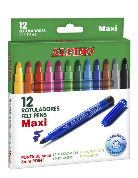 Rotulador alpino 12 colores maxi surtidos