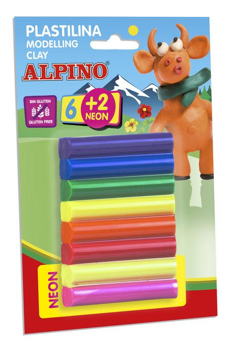 Plastilina alpino blister 6 + 2 barras 12 grs