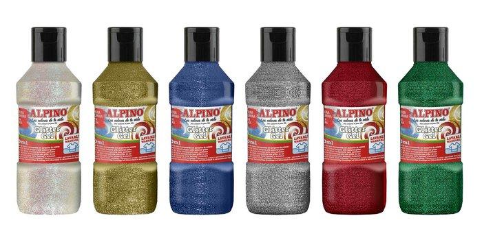 Tempera glitter gel alpino 250 ml rojo