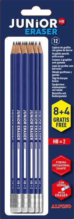 Lapices alpino junior hb con goma blister 8 + 4 gratis