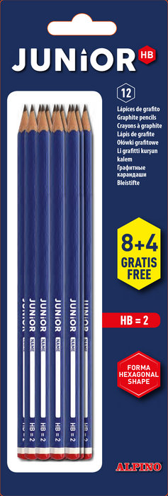 Lapices alpino junior hb con cabecilla blister 8 + 4 gratis