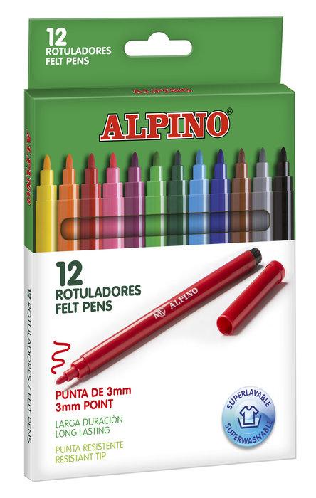 Rotulador alpino 12 standar colores surtidos