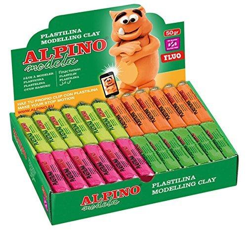 Plastilina alpino 50 gr colores surtidos fluor expositor de