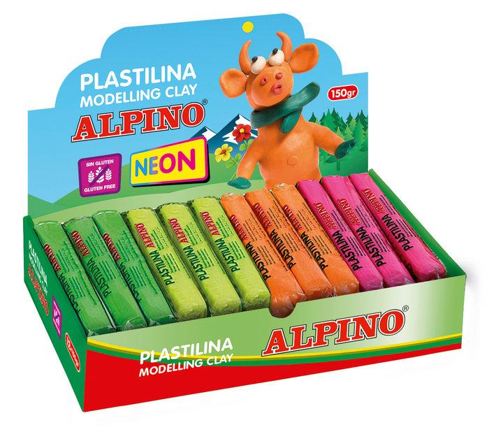 Plastilina alpino 150 gr colores surtidos fluor expositor de