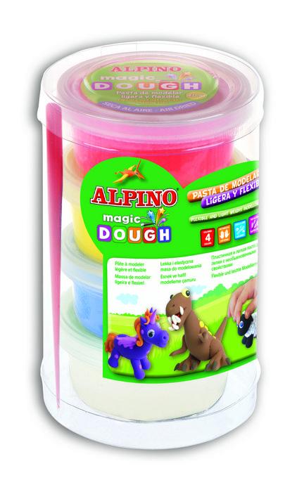 Pasta de modelar alpino magic dough 4x40 gr amarillo rojo az