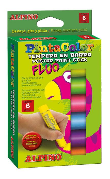 Tempera alpino 6 unid en barra pintacolor fluor