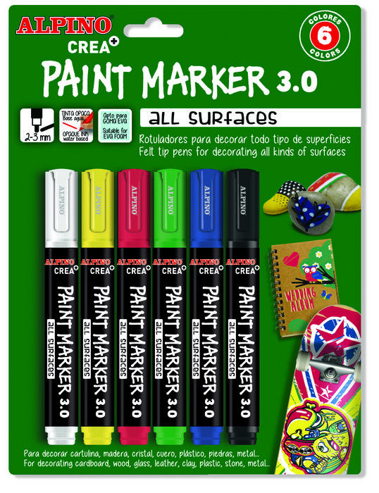 Blister paint marker 6 colores classic