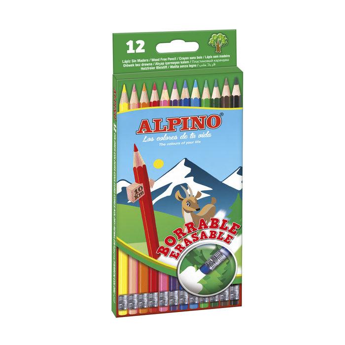 Lapiz alpino 12 colores borrables
