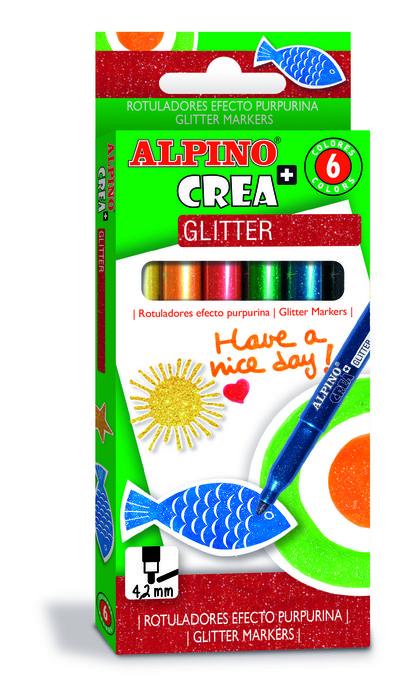 Rotulador purpurina alpino crea glitter marker 6 unidades