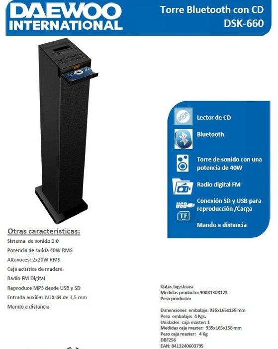 Torre de sonido daewoo dsk-660 40w con cd