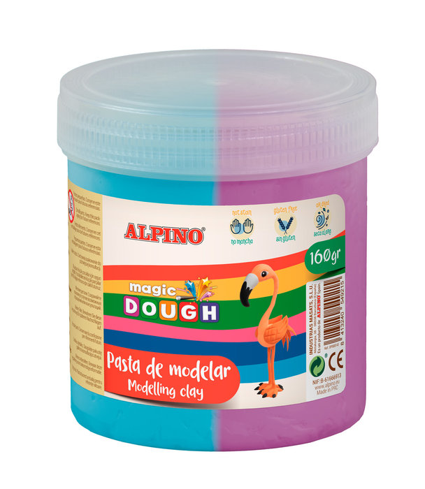 Pasta alpino magic dough bote 160grs cyan y violeta