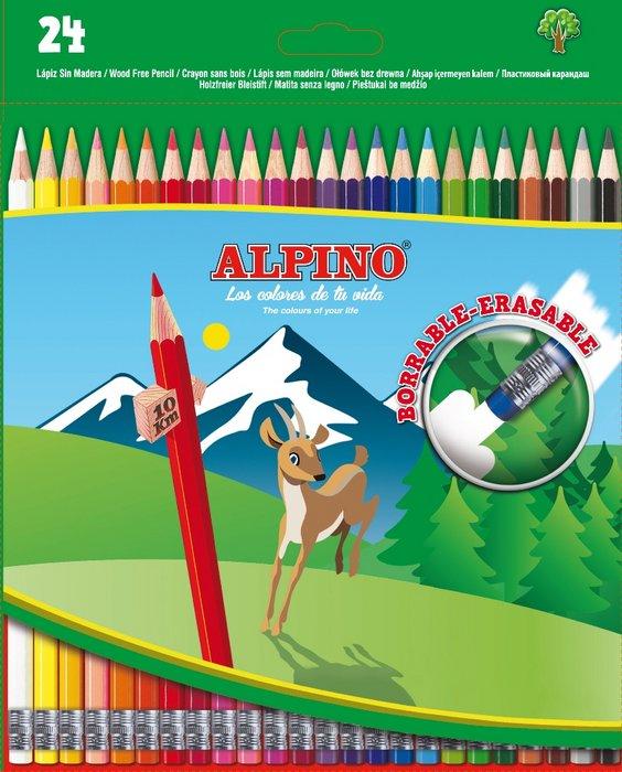 Lapices colores alpino borrables estuche 24 uds