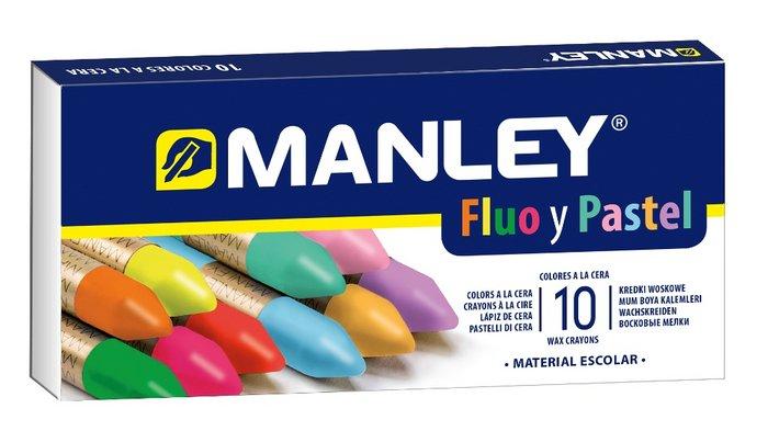 Estuche 10 ceras manley colores especiales fluor y pastel