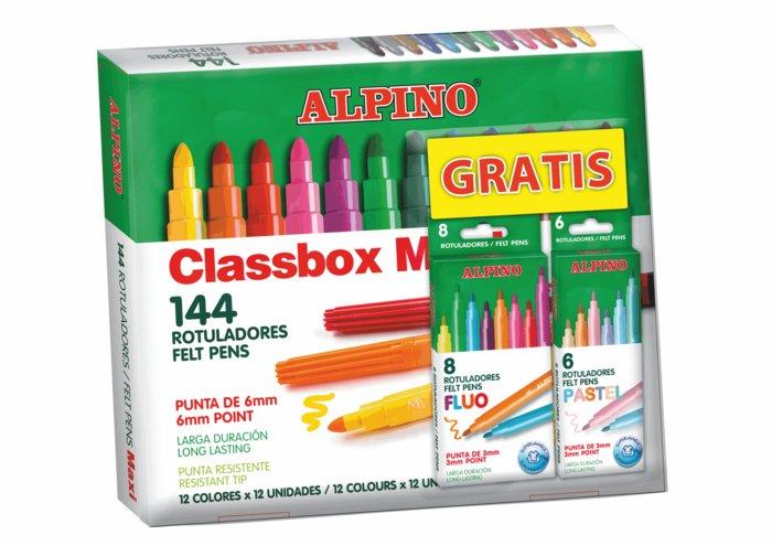 Rotulador alpino maxi 144ud y gratis 6 pastel y 8 fluo