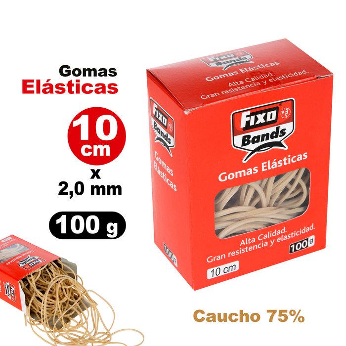 Gomas elásticas 2 mm x 10 cm fixo caja 100 gramos